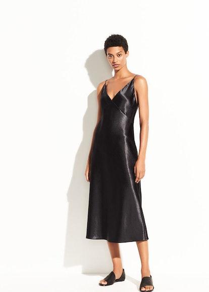Metallic Satin V-Neck Dress