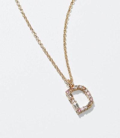 Initial Pendant Necklace - D