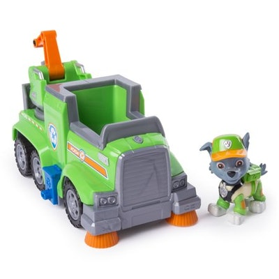 PAW Patrol Ultimate Rescue: Rocky's Ultimate Rescue Recycling Truck with Moving Crane and Flip-open Ramp
