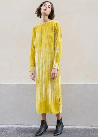 Yellow Crushed Velvet Midi Dress