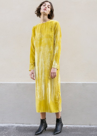 Yellow Crushed Velvet Midi Dress