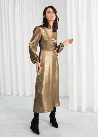 Metallic Satin Midi Dress