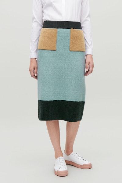 Colour-Block Wool Skirt
