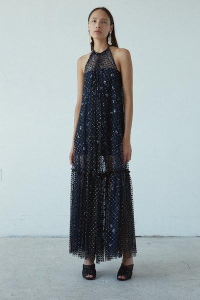 Frivol Dress in Black Flock Tulle