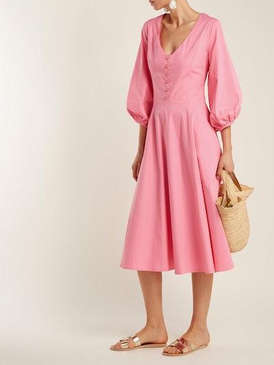 Staud Veronica Cotton-Poplin Midi Dress