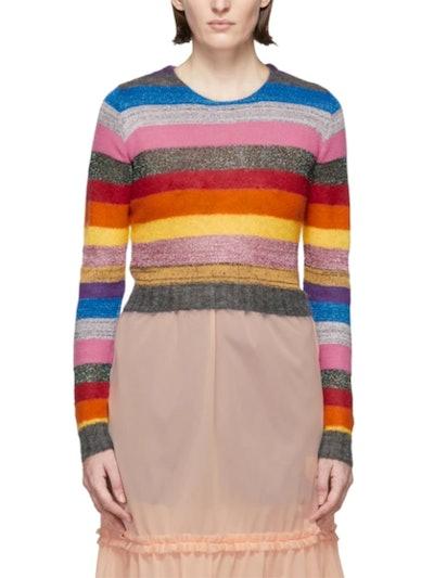Multicolor Cropped Lurex Rainbow Sweater