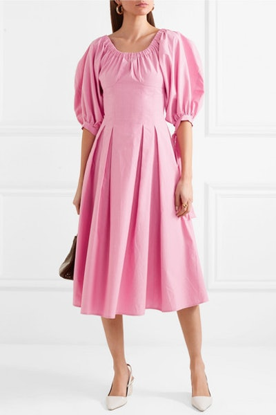 Rejina Pyo Greta Bow-Embellished Cotton Midi Dress