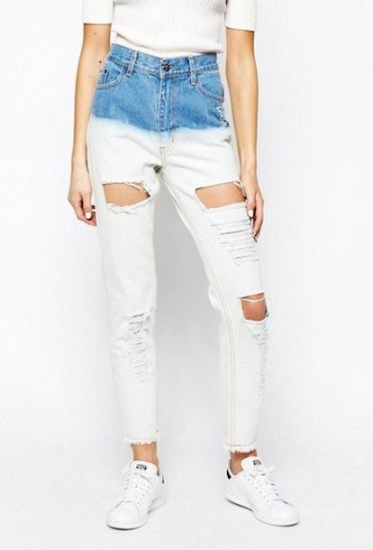 Good Vibes Bad Daze Ripped High Waisted Dip Dye Boyfriend Jeans
