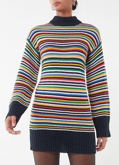 Striped Knit Mini Sweater Dress