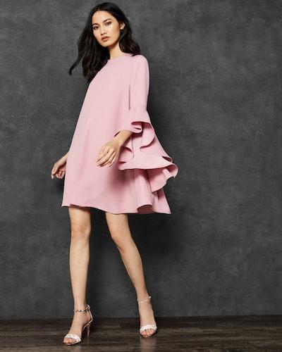 Ashleyy A-Line Waterfall Sleeve Dress