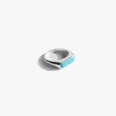 Elongated Signet Ring With Turquoise