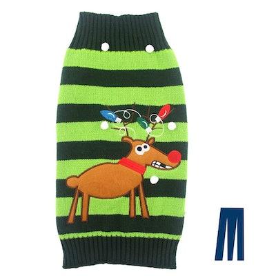 Miyakoo Striped Reindeer Sweater