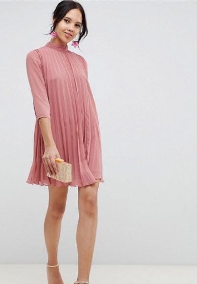 ASOS DESIGN Tall pleated trapeze mini dress