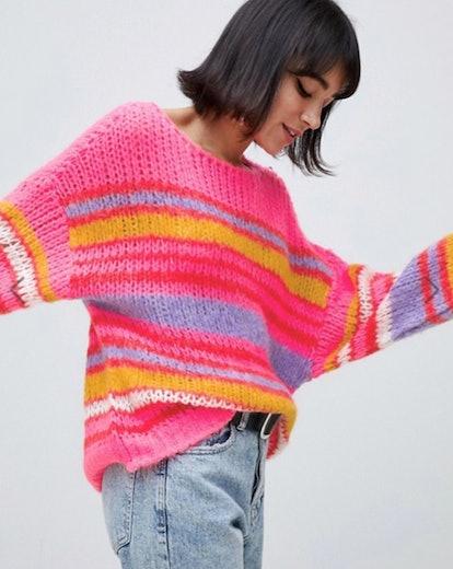 Stradivarius stripe sweater in multi