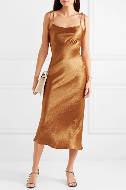 Crinkled-Satin Midi Dress