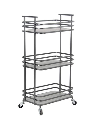 Industrial Wood and Metal 3-Tiered Shelf Cart
