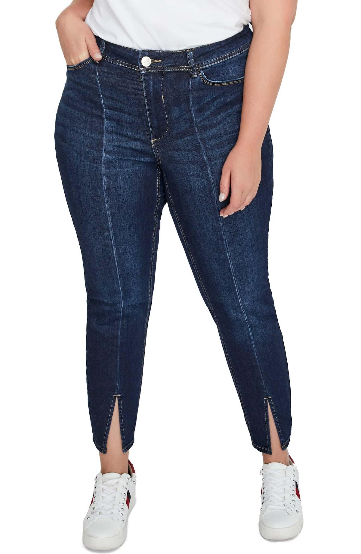 Front Slit Skinny Jeans,                         Main,                         color, MEDIUM DENIMFr...