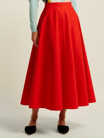 A-Line Cotton Midi Skirt