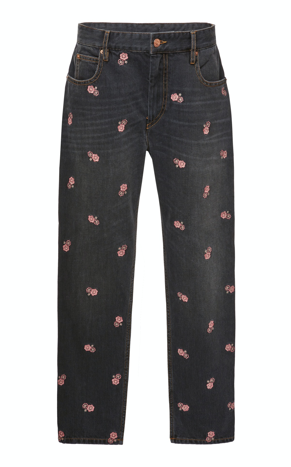 Click Product to Zoom Isabel Marant Étoile Cliffy Embroidered High-Waist Slim-Leg Jeans