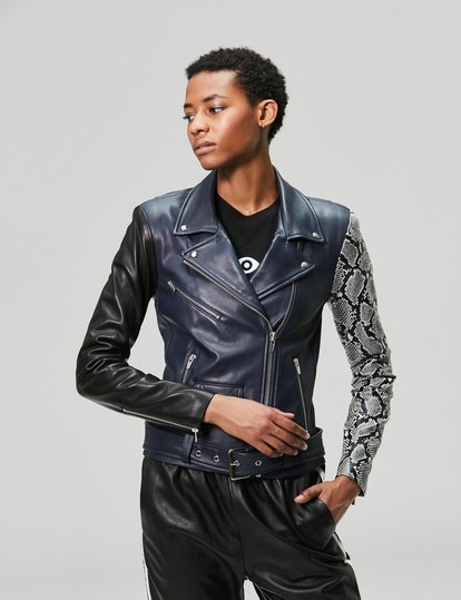 Jayne Leather Jacket Navy Snake Combo