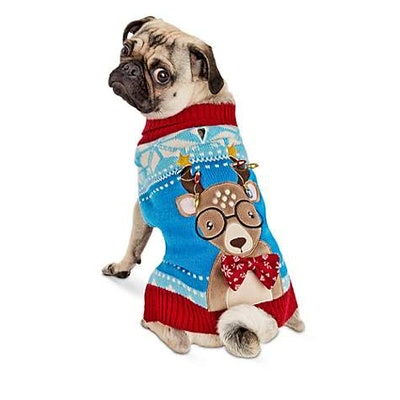 """Holiday Tails """"Oh Deer"""" Ugly Christmas Dog Sweater"""