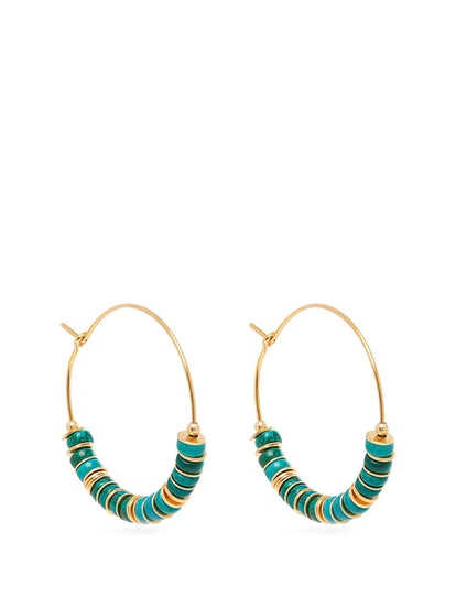 Beaded Turquoise And Gold-Plated Hoop Earrings