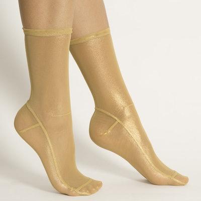 Light Gold Foil Mesh Socks
