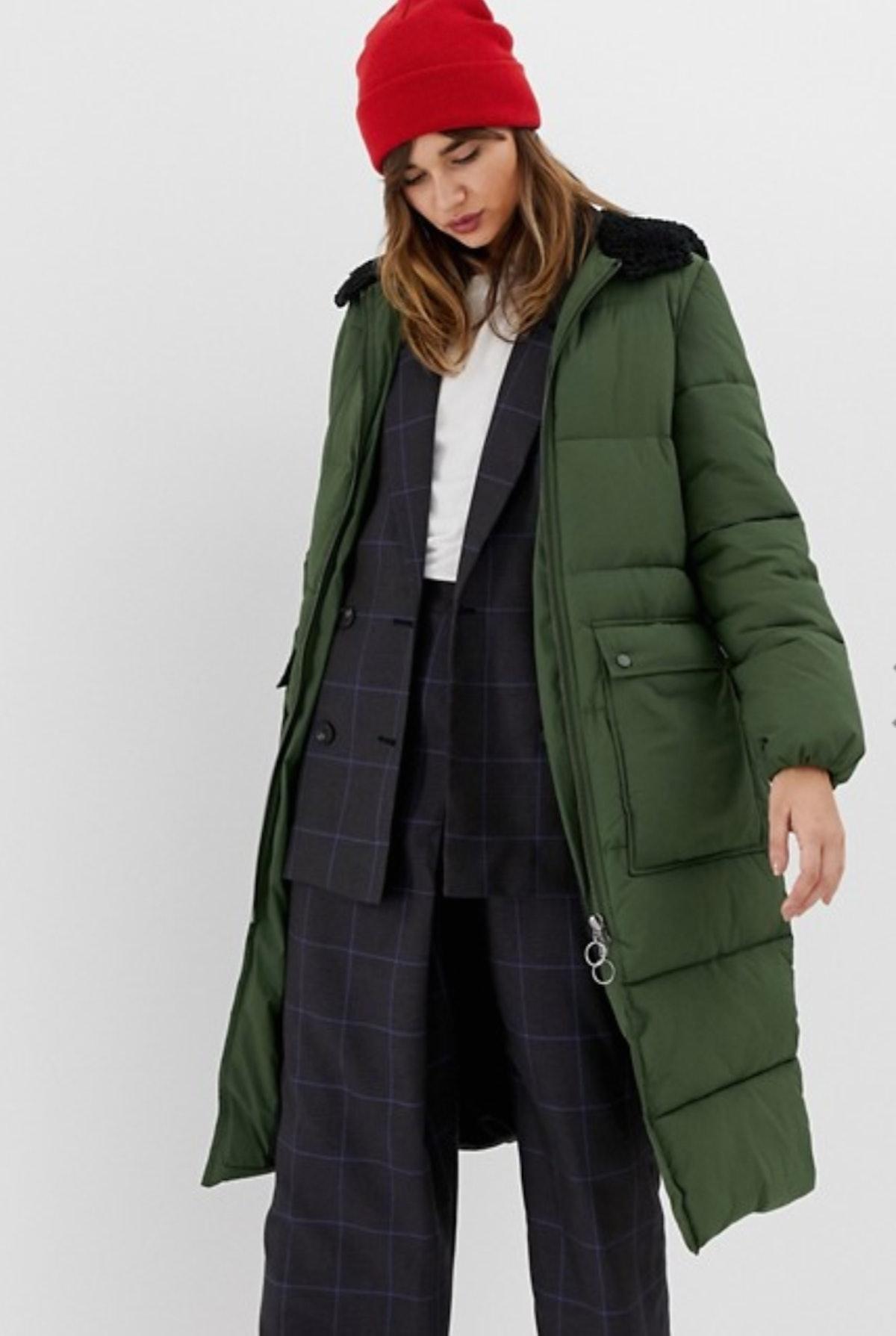 Stradivarius hooded maxi puffer coat in green