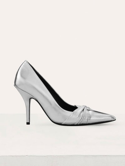 Draped Pumps In Silver Leather