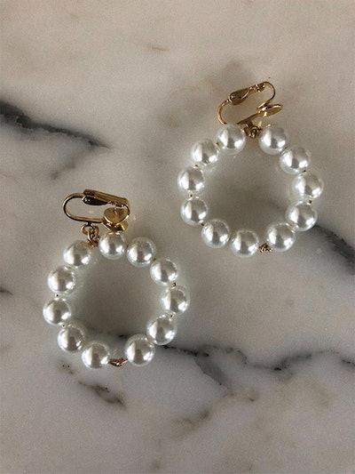 Clip On Pearl Knot Hoop Earrings