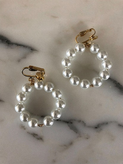 Clip On Pearl Knot Hoop Earrings