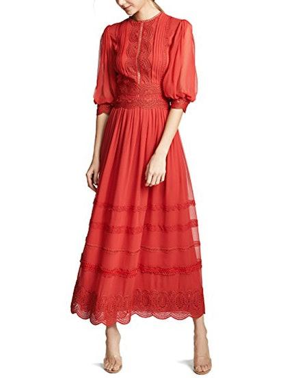 3/4 Sleeve Midi Lace Dress
