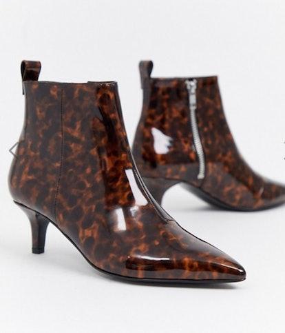 Monki pointed kitten heel boot in tortoise brown