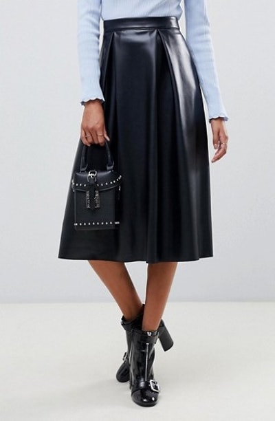 Leather Look Full Midi Skirt With Box Pleats