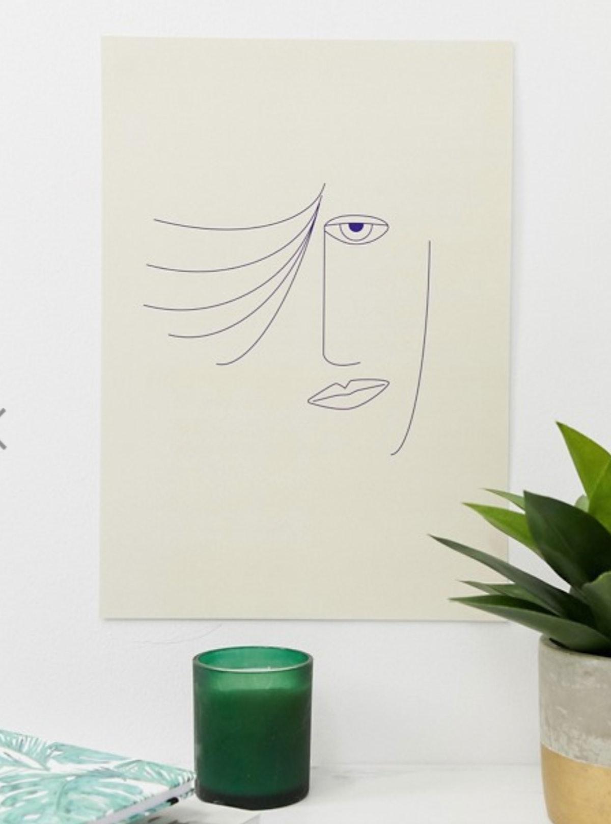 Moxon face sketch A3 wall art