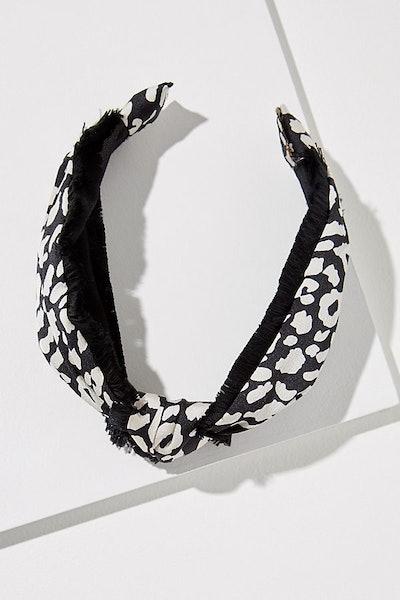 Fringed Leopard-Print Headband