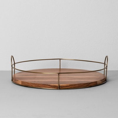 """Hearth & Hand™ with Magnolia - Round Wood and Wire Tray (16"""")"""