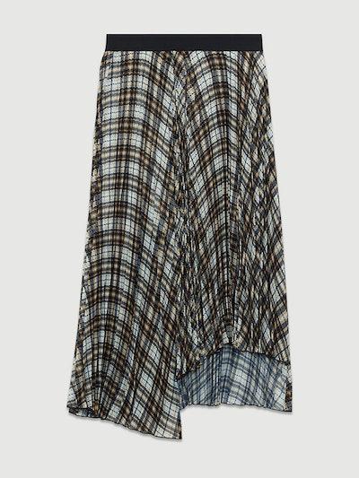Pleated Plaid Asymmetric Skirt
