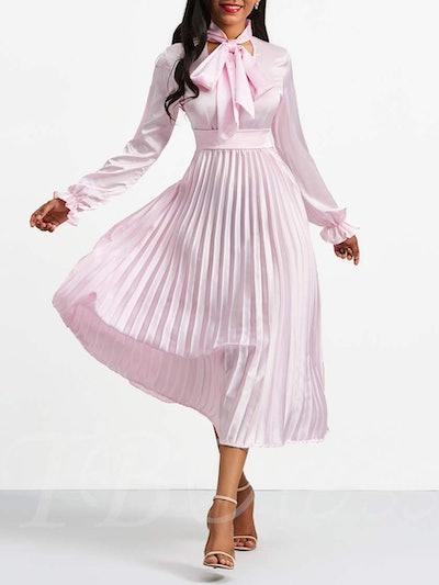 Pink Tie Neck Long Sleeve Women's Day Dress