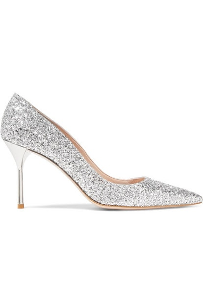 Glittered Leather Pumps