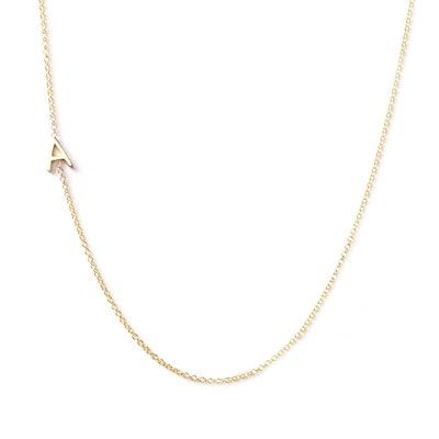 14K Gold Asymmetrical Letter Necklace - A