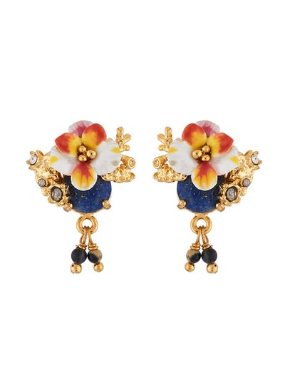 Dazzling Discretion White Flower and Laced Corals on Stone Earrings