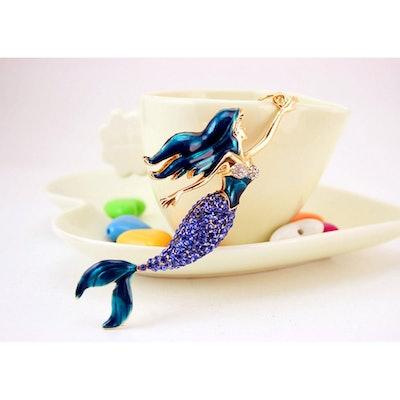 Jzcky Shzrp Cute Mermaid Crystal Rhinestone Keychain