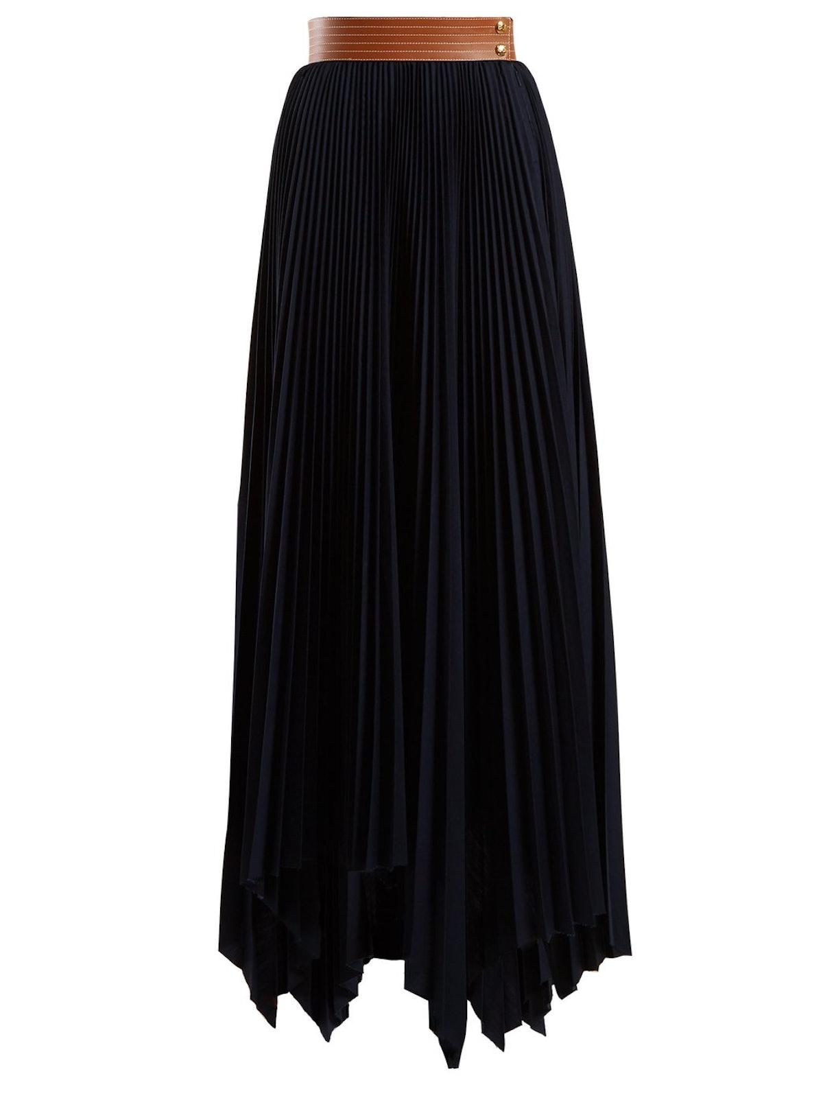 Handkerchief-Hem Pleated Skirt