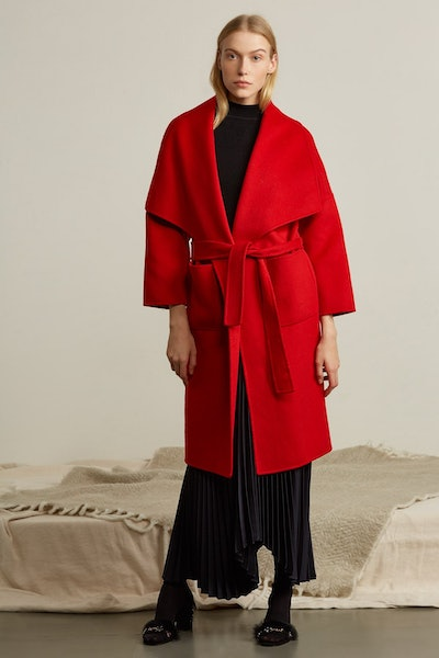 Oversized Shawl Collar Wool Coat in Red