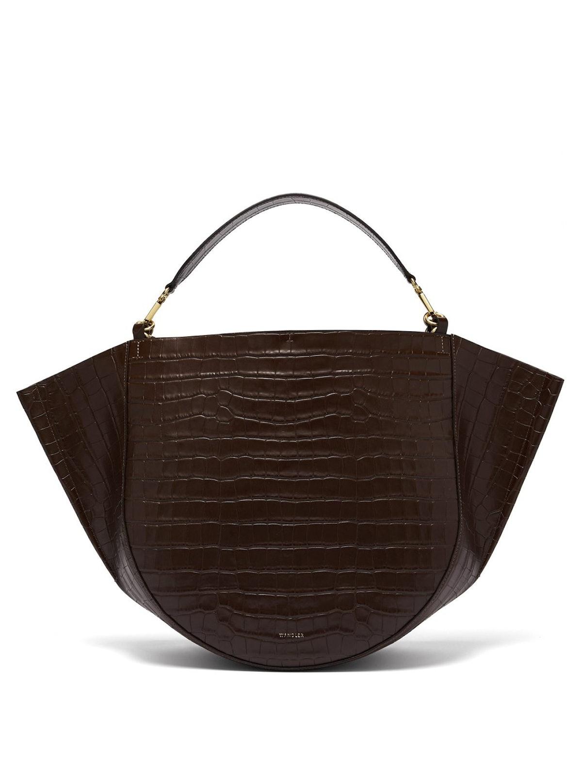Mia Crocodile-Effect Leather Tote Bag
