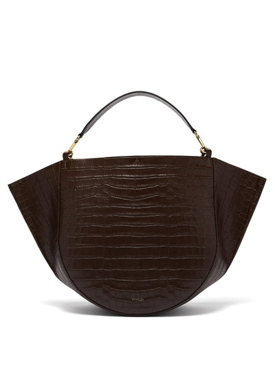 Mia Crocodile-Effect Leather Tote Bag
