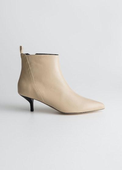 Leather Kitten Heel Boots