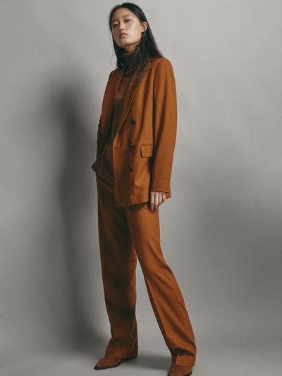 Straight Fit Plain Wool Trousers