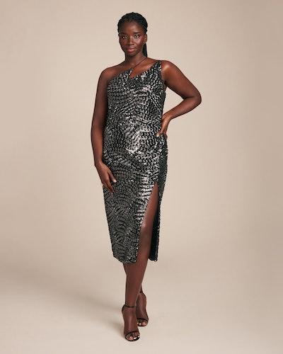 Black & Silver Sequin Zig Zag Dress